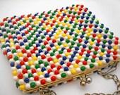 Vintage Grandee Bead beaded handbag, 1950s or 60s, multicolored