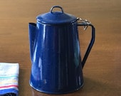 Blue Spattered Enamelware Coffee Pot with Attached Lid Rustic Farmhouse Kitchen Decor Camping