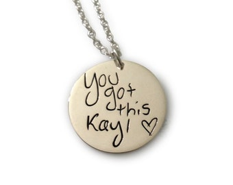 """Custom handwriting necklace - Memorial Pendant - Sterling Silver Personalized Necklace - 3/4"""" round pendant"""