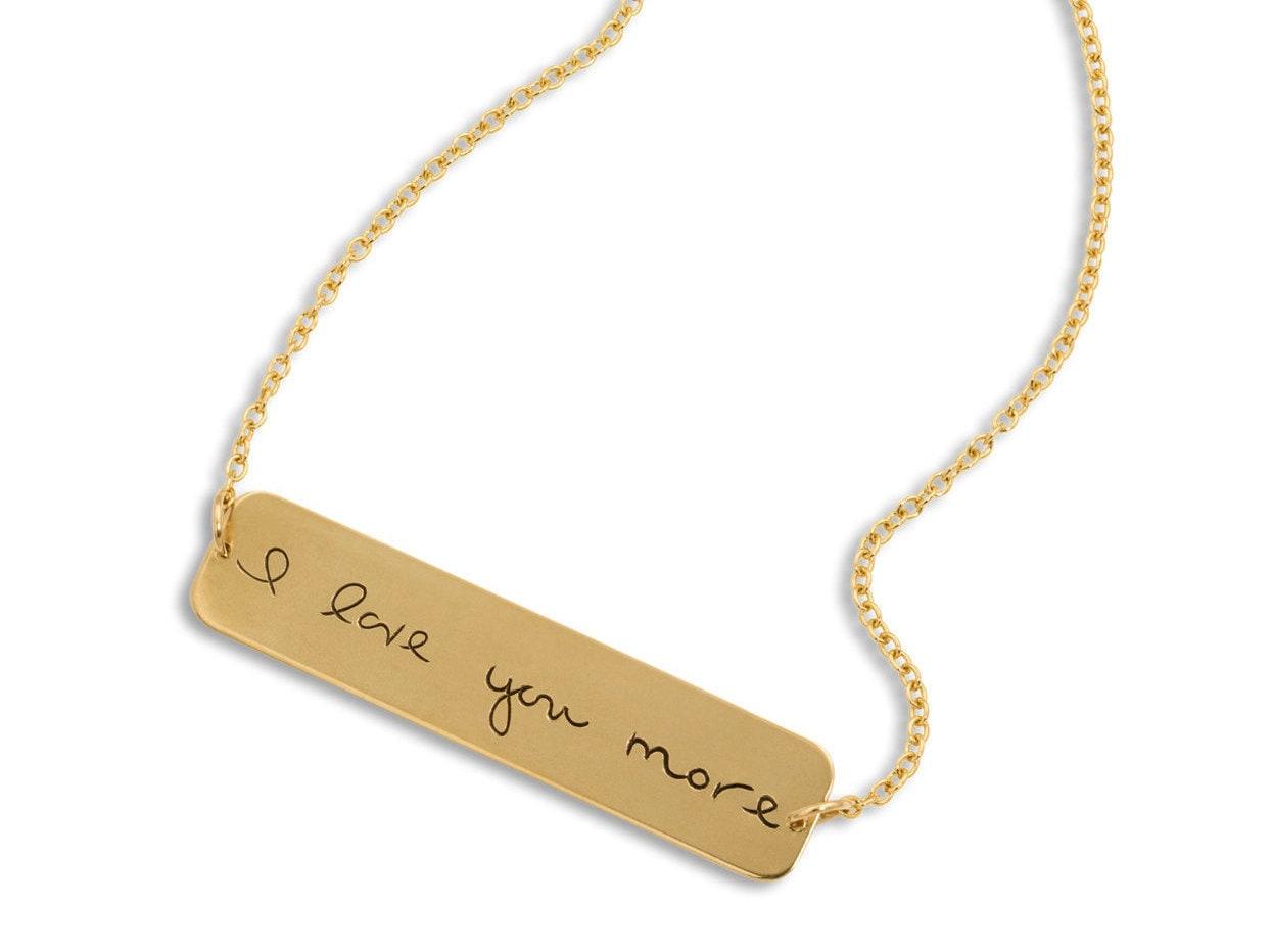 custom handwriting jewelry gold bar necklace horizontal etsy. Black Bedroom Furniture Sets. Home Design Ideas