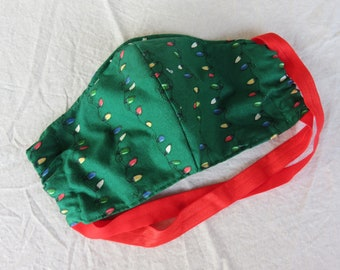 Christmas Lights Adult Fitted Face Mask with Filter Pocket