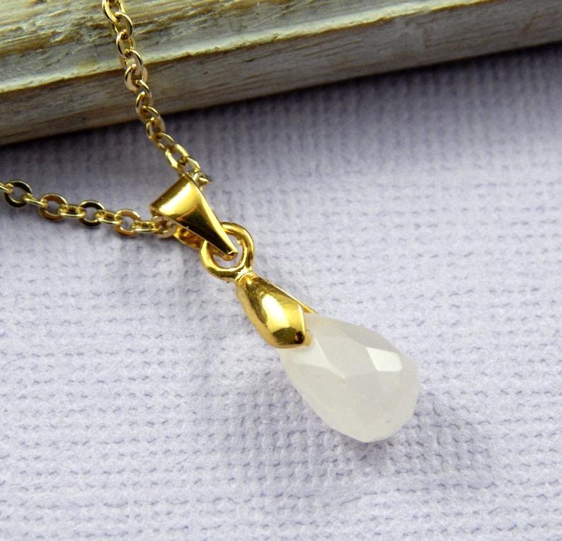 Petite Gold Necklace Rose Quartz Necklace Briolette Necklace Layering Necklace Rose Quartz Layering Necklace