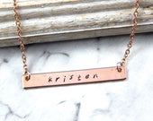 Personalized Necklace,Rose Gold Bar Necklace,Name Necklace,Layering Necklace