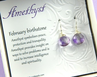 Amethyst Earrings, Moss Amethyst Earrings, Wire Wrapped Amethyst Earrings,February Birthstone, super seven, Sterling Silver