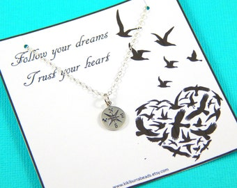 Wanderluster Necklace,Compass Necklace, Friendship necklace, Best Friend Gift, Compass Charm, Graduation Gift