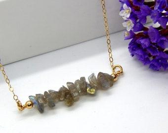 Labradorite Necklace,Labradorite Bar Necklace,Layering Necklace,March Birthstone,February Birthstone,Minimal Necklace,Choose Your Finish