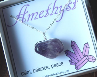 Amethyst Necklace, Natural Amethyst Necklace, Purple Amethyst, Feburary Birthstone, select your gemstone and finish
