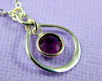 Simple February Birthstone Necklace, Personalized infinity necklace, Amethyst, birthstone jewelry, gift boxed necklace