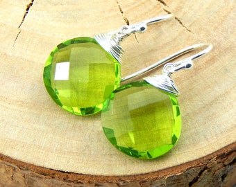 Peridot Earrings,August Birthstone,Sterling Silver Earrings,Wire Wrapped,Olivine Earrings,Briolette Earrings