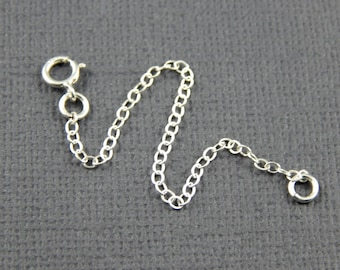 """Necklace extension chain - 1"""" , 2"""", 3"""", 4"""", 5"""" or 6"""" sterling silver extender chain"""