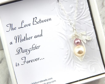 Baby Mother And Daughter Necklace, Mother and Daughter Two Peas In A Pod Necklace, Mothers Necklace, Baby Shower Gift
