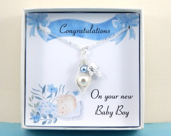 Congratulation On Your New Baby Boy Necklace, Baby Boy Necklace, New Mother Gift, Christening Gift,Baby Boy Gift, Baby Shower Gift