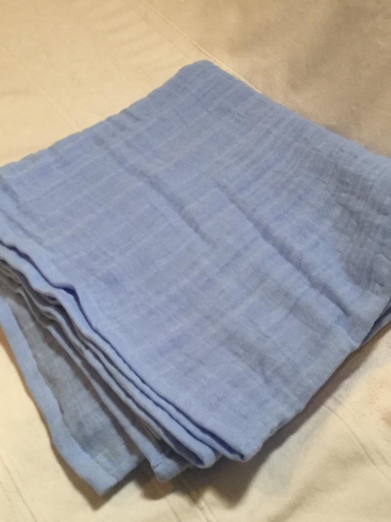 Double Gauze Swaddle Blanket Single Sided 43 x 47 Blanket Cotton Sky Blue Embrace Baby Boy Baby Blanket Ready to Ship