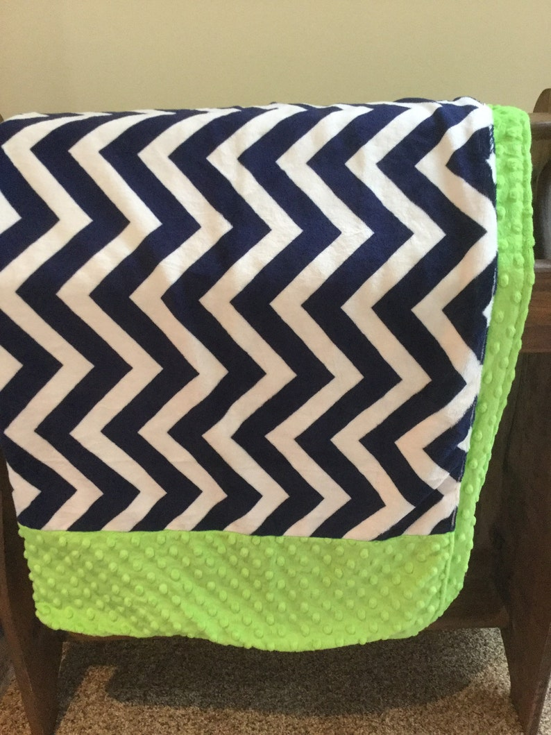 Minky Baby Blanket 38 x 38 Double Sided Patchwork Navy Blue Chevron and Lime Green Minky w Lime Green Dimple Dot Minky Ready to Ship
