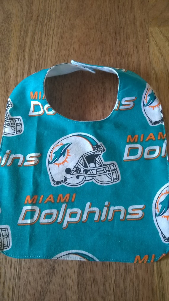 sports shoes ebfea 52ad6 Miami Dolphins baby bib 10 1/2 by 7 1/2 inches