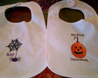 2 bibs My First Halloween and Cute Spider  ( BOO)  boy or girl