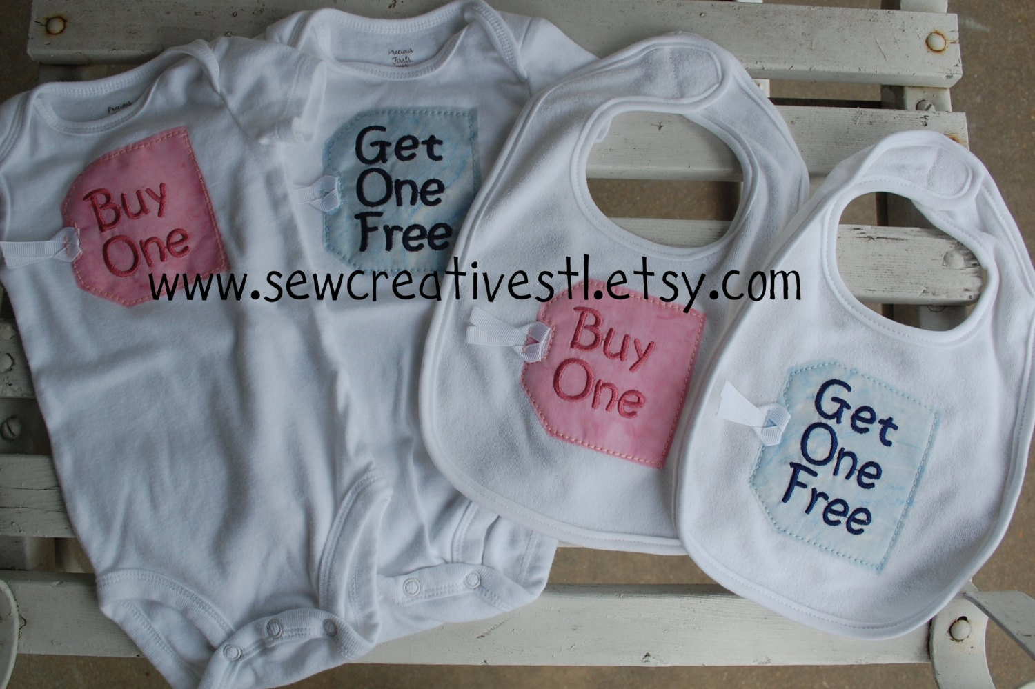 31b7ab0bc1 Bib and Onesie Set for Twins Buy One and