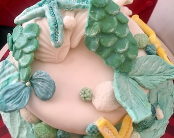 Mermaid Theme Birthday or Wedding Cake Decoration Fondant Cake Topper