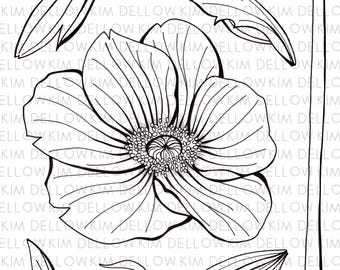 Digital Stamp - Anemone Flower and Leaves Digi Stamp for art, mixed media, art journaling, card making and papercraft