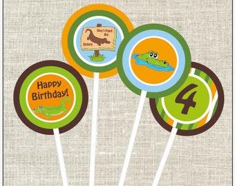 "Gator Swamp - DIY - 2"" Cupcake Toppers"