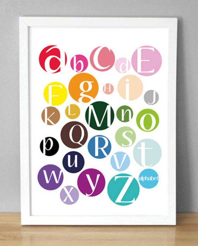 Printable Wall Art  Multi Color Dot Alphabet   image 0