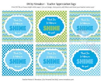 Teacher Appreciation - DIY Tags (Blue/Green)