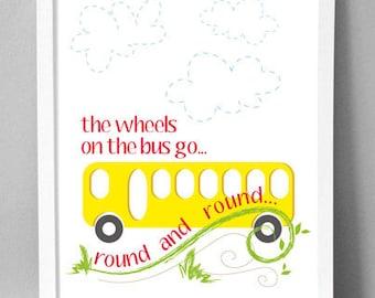 "Printable Wall Art - Wheels on Bus - 8.5""x10"""