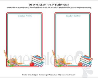 Teacher Notes - DIY Note Cards