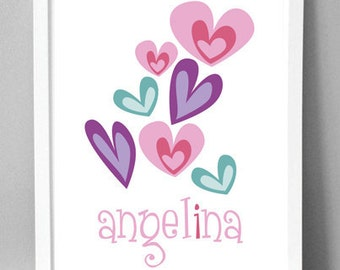 "Printable Wall Art - Girly Hearts - 8.5""x10"""