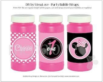 Minnie Mouse - DIY - Bubble Bottle Wraps