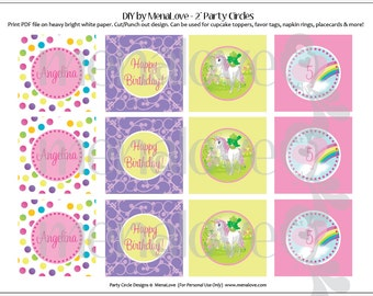 "Unicorn Birthday - DIY - 2"" Cupcake Toppers"