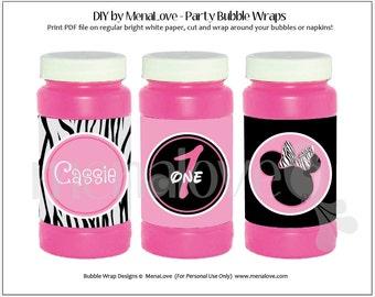 Minnie Mouse Zebra - DIY - Bubble Bottle Wraps