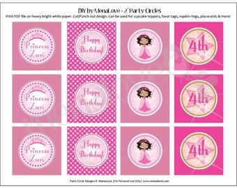 """Pink Princess - DIY 2"""" Cupcake Toppers"""