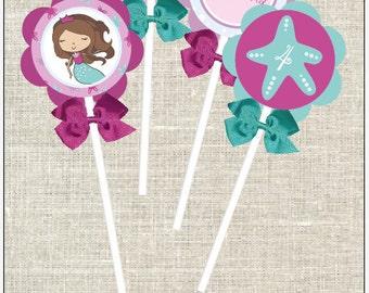 """Mermaid Birthday - DIY 2"""" Cupcake Toppers"""