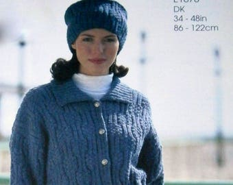 INSTANT DOWNLOAD PDF Vintage Knitting Pattern   Textured Belted Jacket and Hat  Retro Coat Cardigan  Plus Sizes to 48 inches