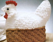 Vintage Crochet Pattern Nesting Hen Tea Cosy Cozy Chicken Easter Country Kitchen Shabby Chic