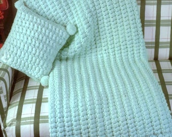 Vintage Crochet Pattern Christmas Snow Clusters Baby Afghan PDF Instant Digital Download Quick Easy Puff Stitch Crib Blanket 5 Ply