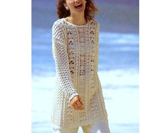 15ae0d327 Vintage Crochet Pattern Tunic Sweater Long Line Summer Cotton Jumper  INSTANT DOWNLOAD PD