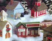 Plastic Canvas Christmas Holiday Village Toy Town Mini Houses Miniatures Church School Ornament Table Decoration