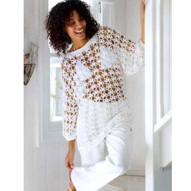 6231463014 Vintage Crochet Pattern CHART Summer Tunic Sweater Pullover