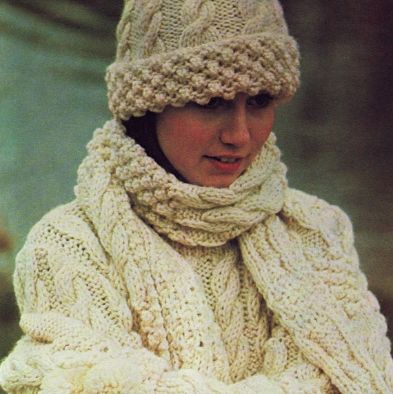 Instant Download Pdf Vintage Knitting Pattern Aran Sweater Etsy