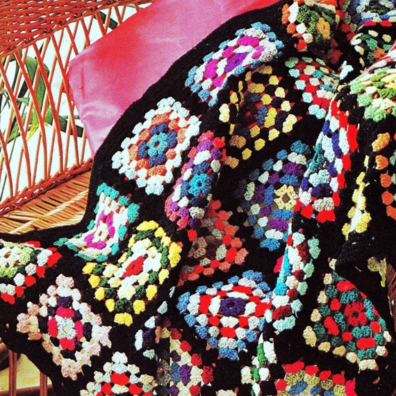 INSTANT DOWNLOAD PDF Vintage Crochet Pattern  for 1970s Granny