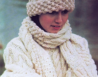INSTANT DOWNLOAD PDF  Vintage Knitting Pattern   Aran Sweater Hat Scarf and Gloves Cable