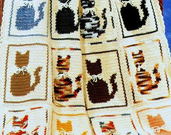 INSTANT DOWNLOAD PDF Vintage Crochet Pattern  for Cat Afghan Throw Blanket Kittens Cats Retro