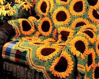 Vintage Crochet Pattern  Sunflowers Afghan  Throw Blanket Bedspread Sunflower   INSTANT DOWNLOAD PDF