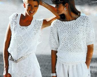 Vintage Crochet Pattern  Summer Cotton Tops   Shell T Shirt Tunic Vest Blouse Sweater Granny Squares  INSTANT DOWNLOAD PDF