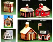 Plastic Canvas Village Toy Town Mini Houses Miniatures School Candy Store Bakery Post Office Train Depot Drug Store Shop