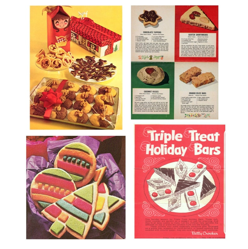 Retro Recipes Christmas Cookies And Candy Marzipan Fruits Fudge Gingerbread Men Biscuits Sweets Gifts Vintage Baking Recipes