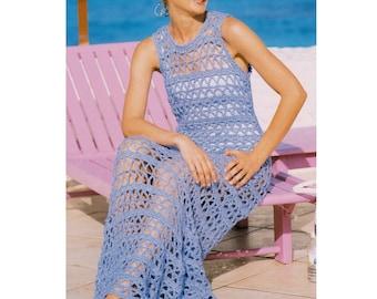 Vintage Crochet Pattern   Mesh Maxi Dress   Lace Beach Cover Up Sun Dress