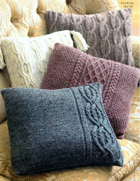 Vintage Knitting Pattern For Aran Cushions Pillows Cable Etsy